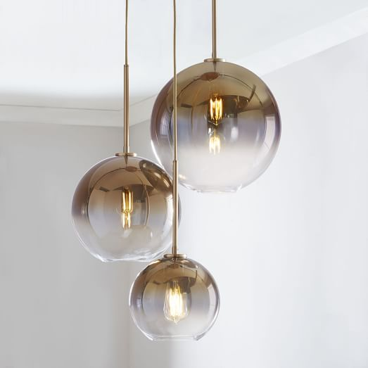 Innovative 3 Light Chandelier Sculptural Glass Globe 3 Light Chandelier Mixed West Elm