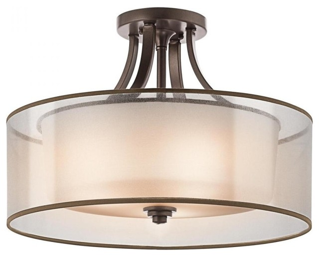 Innovative 4 Light Ceiling Light Kichler Lacey 4 Light Antique Pewter Drum Shade Semi Flush Mount