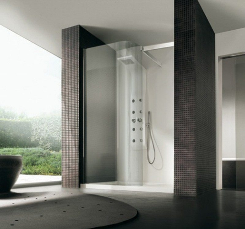 Innovative Contemporary Bathroom Showers Contemporary Black Bathroom With Textured Glass Shower Walls