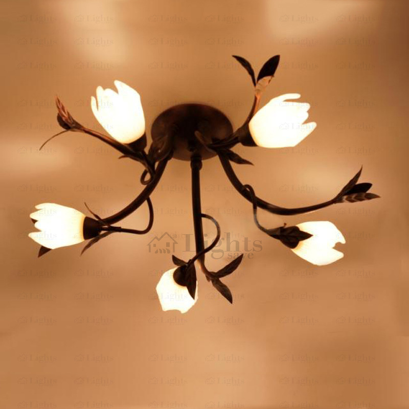 Innovative Decorative Ceiling Light Fixtures 5 Light E14e12 Floral Shade Decorative Ceiling Lights