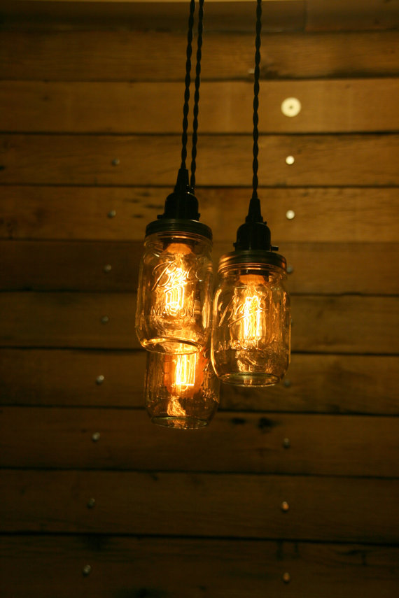 Innovative Hanging Pendant Lights On Sale 3 Pint Jar Pendant Light Mason Jar Chandelier Light