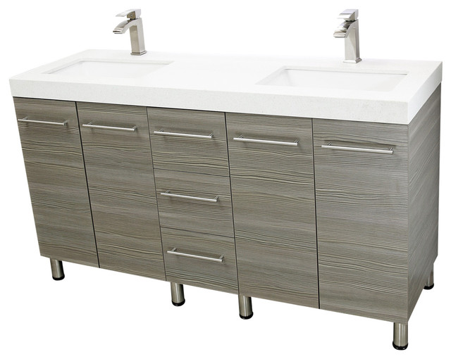 Innovative Modern Bathroom Double Vanities Windbay 60 Free Standing Bathroom Double Vanities Ebony Modern