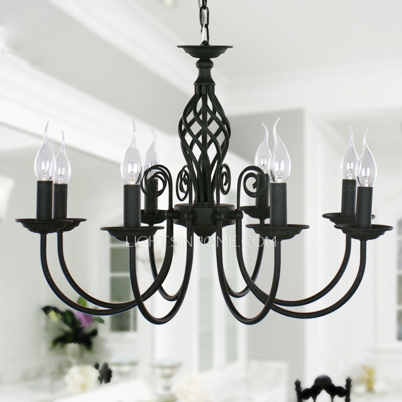 Innovative Wrought Iron Chandeliers Black Fixture 8 Light Wrought Iron Material Chandeliers 275 Diameter