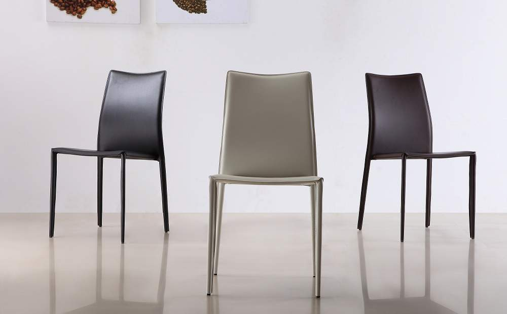 Lovable Contemporary Dining Chairs Marengo Leather Contemporary Dining Chair In Black Brown Or White