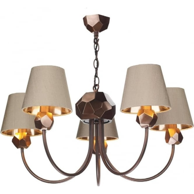 Lovable Copper Ceiling Light 5 Arm Traditional Copper Ceiling Light Fitting With Taupe Silk Shades