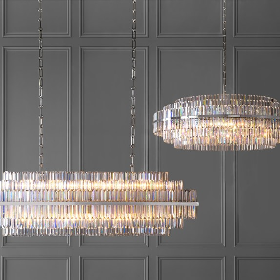 Lovable Crystal Light Fixtures Vienna 48 Round Crystal Chandelier Polished Nickel Williams Sonoma