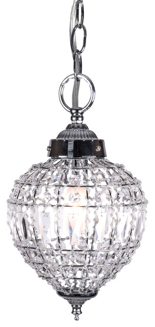Lovable Crystal Pendant Lighting 1 Light Beaded Crystal Mini Pendant Light In Chrome Finish With