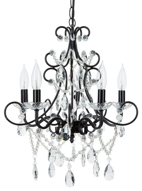 Lovable Iron And Crystal Chandelier Theresa 5 Light Wrought Iron Crystal Chandelier Black