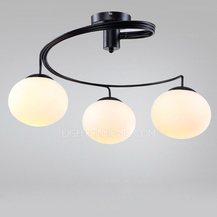 Lovable Overhead Light Fixture Globe Glass Shade 3 Light Modern Ceiling Light Fixtures For Bedroom