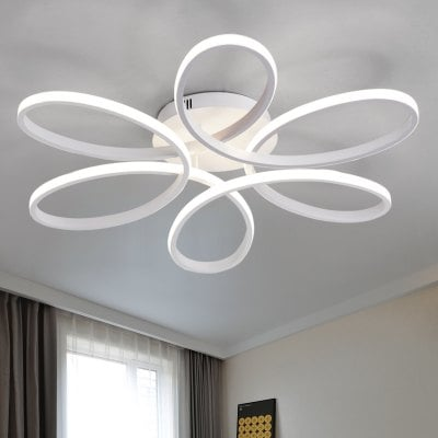 Lovable Simple Ceiling Lights Everflower Modern Simple Floral Shape Led Semi Flush Mount Ceiling