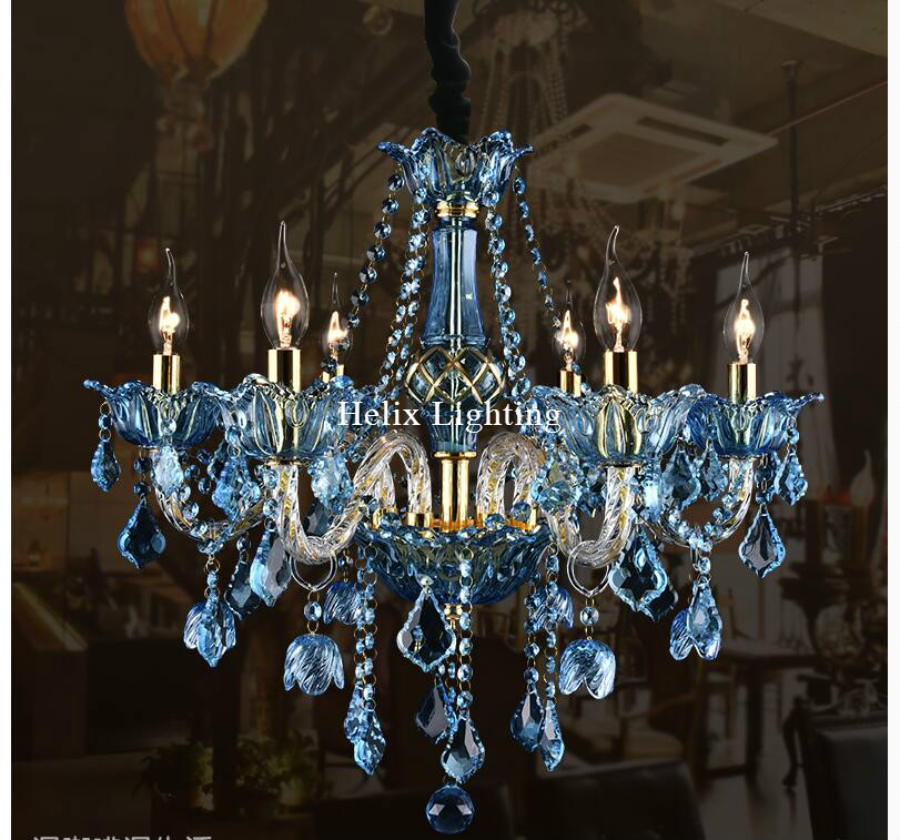 Nice Blue Crystal Chandelier Light Free Shipping E14 European Blue Crystal Chandelier Lighting