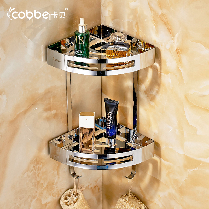 Nice Luxury Shower Accessories Luxury 304 Stainless Steel Shower Caddy With Hooks Double Tier