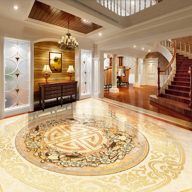 Nice Luxury Tiles For Living Room Custom 3d Floor Tiles Mural Wallpaper European Style Marble Luxury
