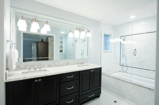 Nice Master Bathroom Furniture Traditional Master Bathroom With Dark Cabinets And White Quartz