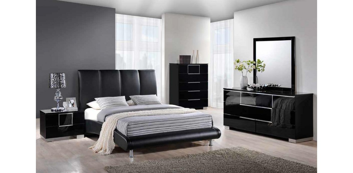 Innovative Black Leather Bedroom Set Rossi Luxury Matt Black ...