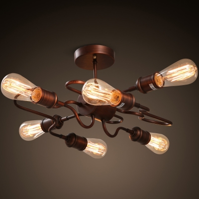 Stunning Copper Ceiling Light Antique Copper Finished 6 Light Unique Shape Semi Flush Ceiling
