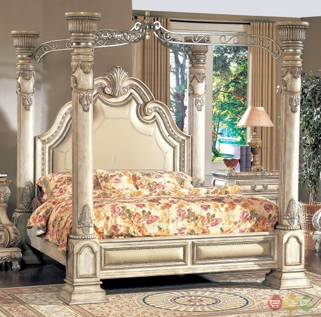 Stunning Luxury Queen Bed Inspired Antique White Luxury Queen Poster Canopy Bed