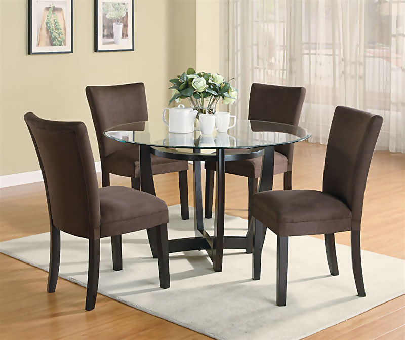 Stylish Black And Brown Dining Room Sets Contemporary Dinette Room Design With Round Glass Top Dining