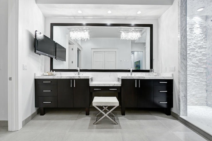 Stylish Contemporary Bathroom Chandeliers Black Double Vanity Modern Bathroom Beach Chic Design