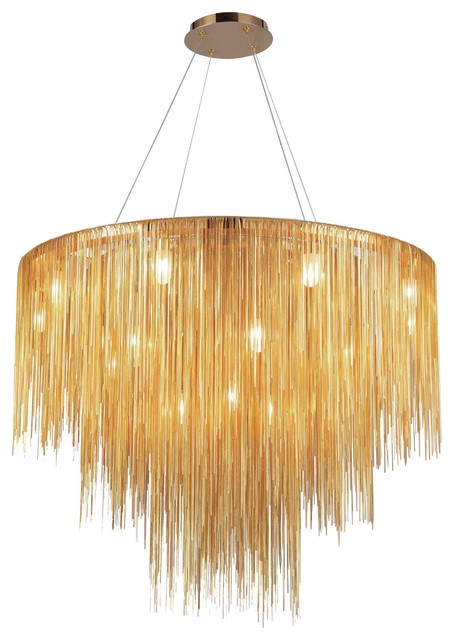 Stylish Gold Contemporary Chandeliers Luxurious Round Gold Linear Chain Chandelier Lamp Contemporary