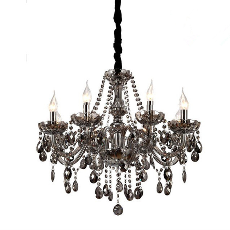 Stylish Grey Chandelier Lighting Modern Crystal Chandeliers Lighting Lustre De Crystal Smokey Grey
