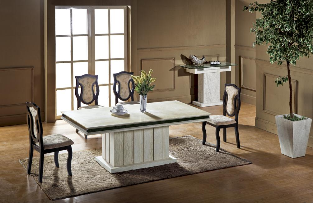 Stylish High Quality Dining Room Furniture Luxury Travertine Dining Table Set High Quality Health Natural