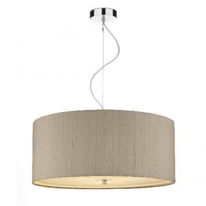 Stylish Large Ceiling Pendant Large Drum Shaped Ceiling Pendant With Taupe Silk Shade