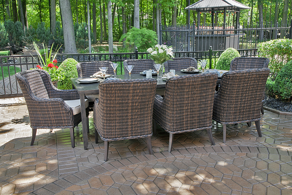 Stylish Luxury Outdoor Dining Chairs Mila Collection 8 Person All Weather Wicker Luxury Patio Furniture
