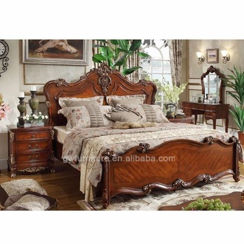 Stylish Luxury Wooden Bed Frames 100 Hand Carve Oak Wood Furniture American Style Bedroom