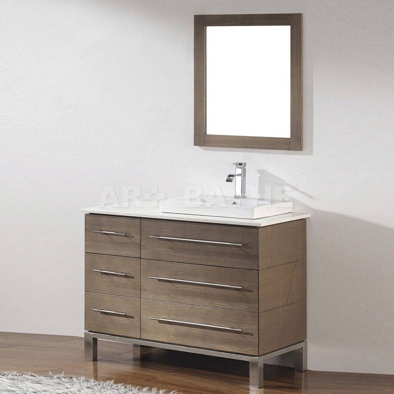 Stylish Modern Bathroom Vanity Base Art Bathe Ginza 42 Smoked Ash Bathroom Vanity Solid Hardwood Vanity