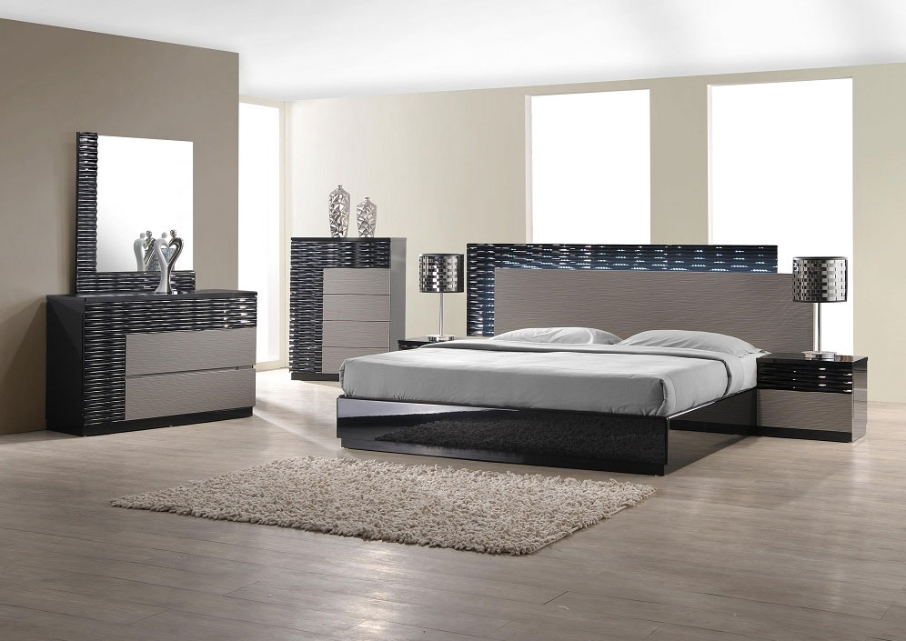 Stylish Modern Bed Set Furniture Modern Bedroom Set With Led Lighting System Modern Bedroom Furniture