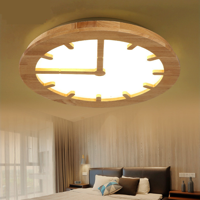 Stylish Simple Ceiling Lights Creative Engraving Led Wooden Clock Bedroom Ceiling Light Japanese