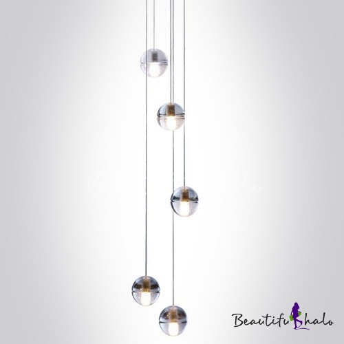 Unique Long Ceiling Lights Cascade Glass Ball Pendant Light 5 Light Beautifulhalo