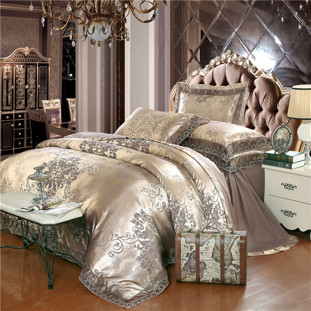 Unique Luxury Bedding Sets Gold Silver Coffee Jacquard Luxury Bedding Set Queenking Size