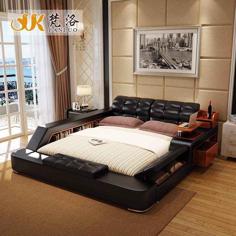 Unique Luxury Storage Beds Modern Leather Queen Size Storage Bed Frame With Side Storage