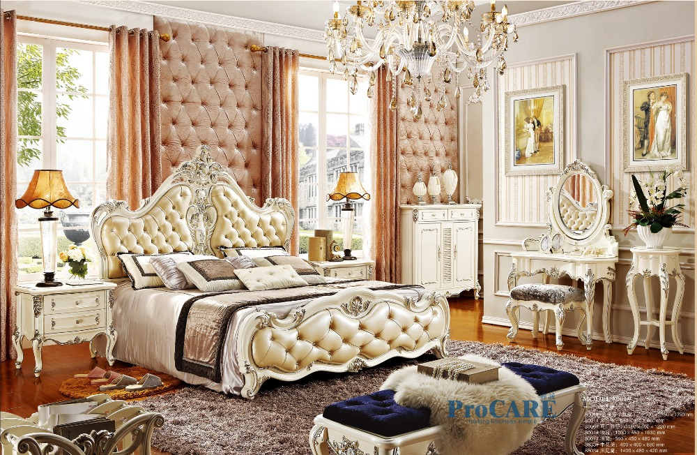 Unique Luxury White Bedroom Furniture Luxury European Royal Style White Solid Wood Hand Carved Antique