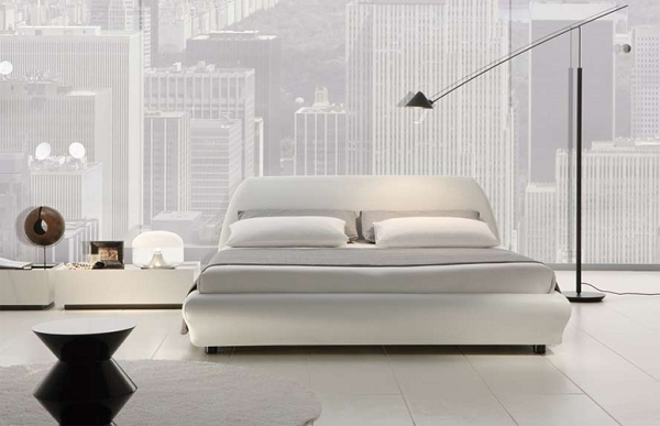 Unique Modern Italian Bed Villa Italian Leather Platform Bed King Size White
