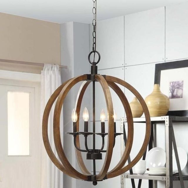 Unique Orb Light Chandelier Wooden Orb 4 Light Chandelier Rustic Sphere Globe Kitchen Dining