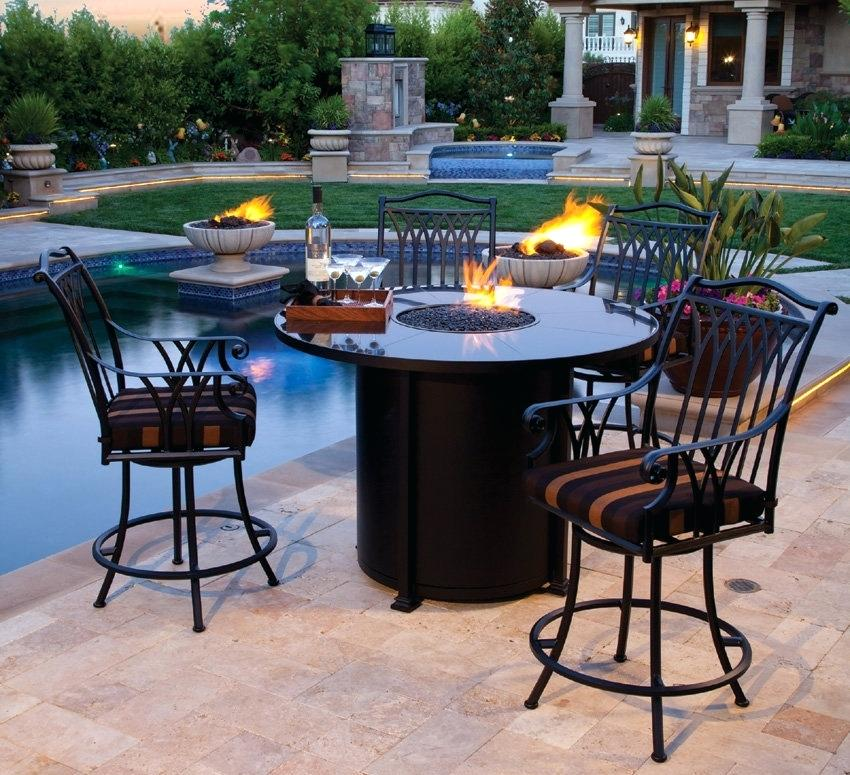 Unique Outdoor Patio High Chairs Balcony Height Dining Furniture Set
