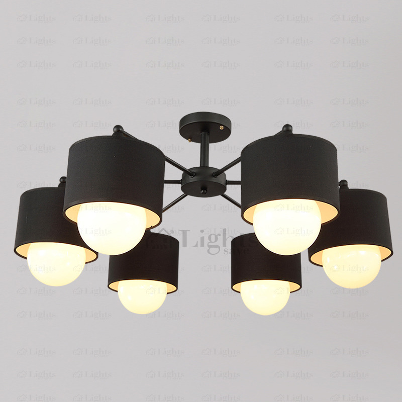 Unique Overhead Light Fixture Modern 6 Light Fabric Shade Black Ceiling Light Fixtures