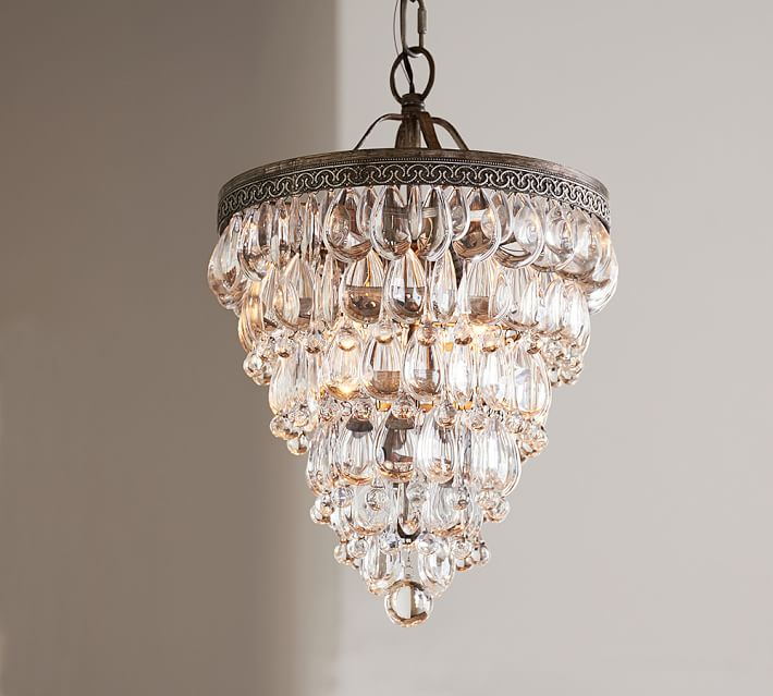 Unique Small Crystal Chandelier Clarissa Crystal Drop Small Round Chandelier Pottery Barn