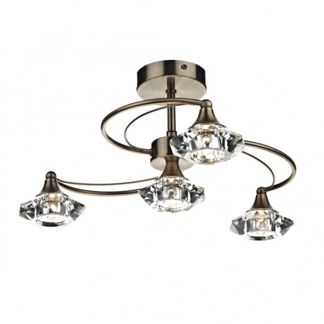 Wonderful 4 Light Ceiling Fixture Dar Luther Lut0475 Crystal Ceiling Lighting Dar Brass 4 Light