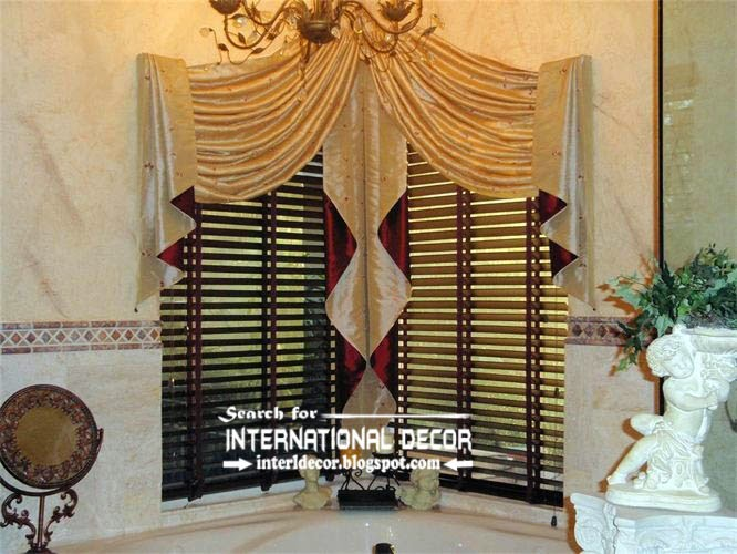 Wonderful Luxury Bathroom Curtains Luxury Swag Curtains Valance For Bathroom Corner Windows Curtain