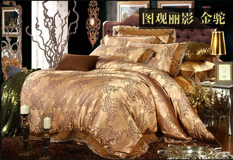 Wonderful Luxury King Size Bedding Sets Luxury Gold Camel Lace Satin Jacquard Bedding Set King Queen Size